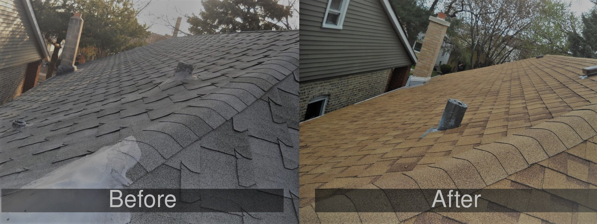 before and after roof installation by roofers in Glenview