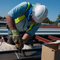 roofing contractor at work