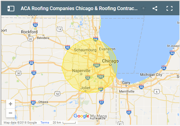 service area of ACA Roofing Companies Chicago